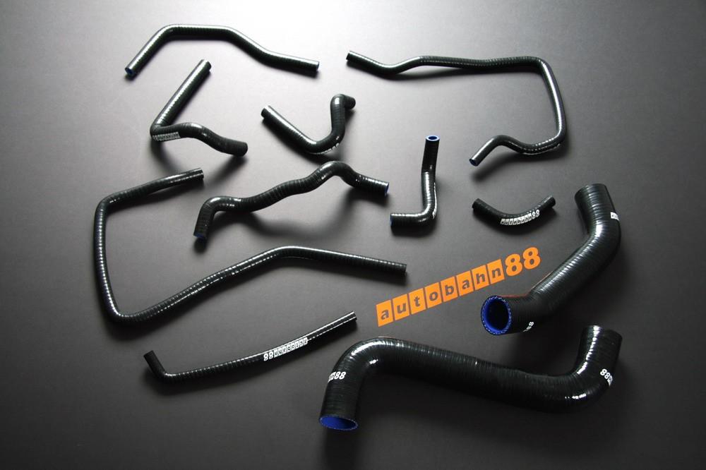 Autobahn88 Silicone Radiator Heater Hose Kit for Subaru Impreza WRX GDA/GDB (A-G) EJ205 /EJ207 (Black) - ASHK02A-BK