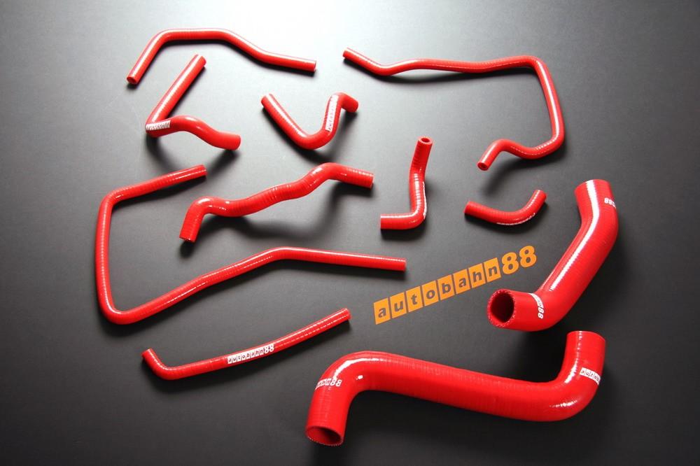 Autobahn88 Silicone Radiator Heater Hose Kit for Subaru Impreza WRX GDA/GDB (A-G) EJ205 /EJ207 (Red) - ASHK02A-R