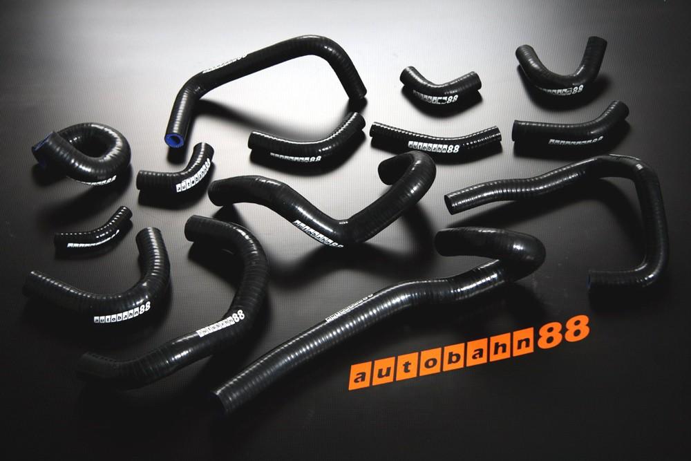 Autobahn88 Silicone Heater hoses kit for Nissan Skyline GTR R33-34 Black - ASHK107-BK