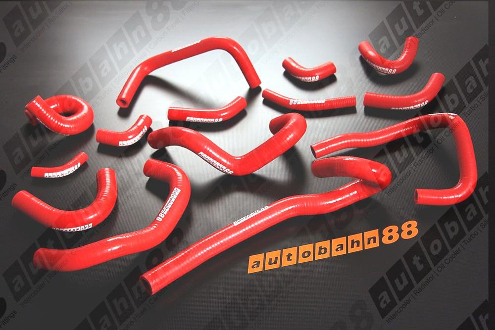 Autobahn88 Silicone Heater hoses kit for Nissan Skyline GTR R33-34 Red - ASHK107-R