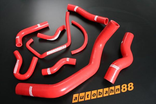 Autobahn88 Silicone Radiator heater hoses kit for Nissan Skyline Silvia S14 S15 Red - ASHK121-R