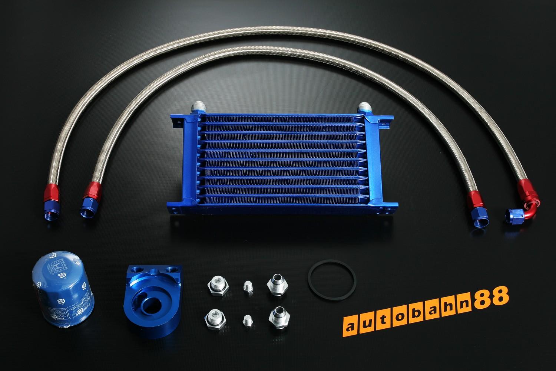 Autobahn88 Deluxe Oil Cooler Kit - blue Hose 2pcs + 10 rows Tank + Fix type Oil Adapter - CAOC01c-B
